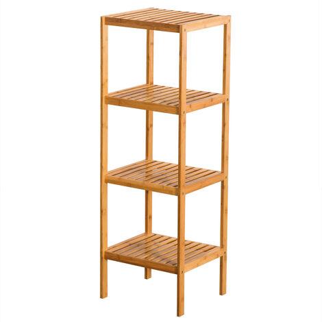 "main image of ""Bamboo Bathroom Shelf, 4 Tier Narrow Free Standing Shelving Unit 37 x 33 x 110cm"""