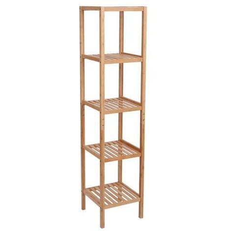 Bamboo Bathroom Shelf 5-Tier Multifunctional Storage Rack Shelving Unit 146*33*33cm Natural