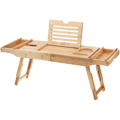 Bamboo Bathtub Tray Rack Holder Stand Storage Shelves (75-110)*23*5cm