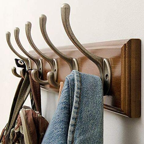 Bamboo Coat Hanger Wall Patère Wall with 5 Chrome Hooks Coat Hanger Wall Patère Vintage Patère Coat Hanger Wall Bathroom Room Door-Vecirculations on Door Patère Wall Entree