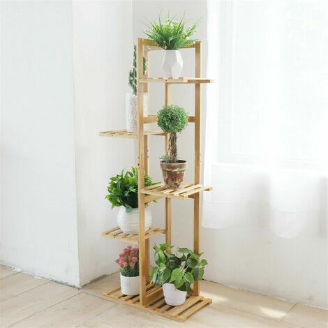 Bamboo Flower Pot Plant Stand Ladder Shelf Display Rack Indoor Outdoor,5 Tiers