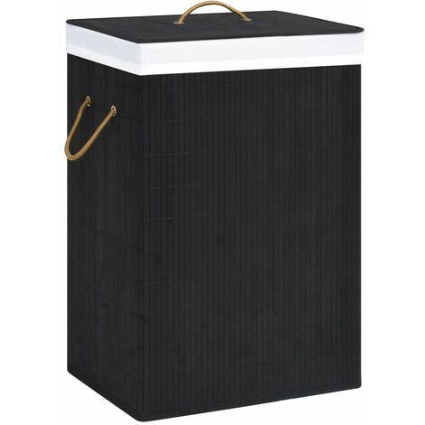 Bamboo Laundry Basket Black 72 L