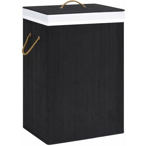 Bamboo Laundry Basket Black
