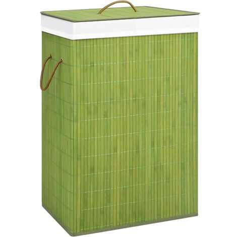 Bamboo Laundry Basket Green 72 L