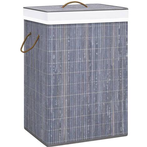 Bamboo Laundry Basket Grey 72 L