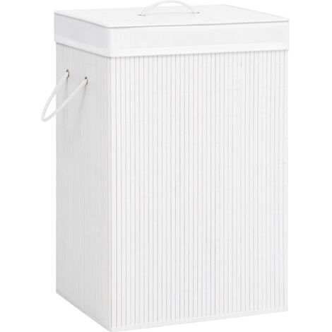 Bamboo Laundry Basket White 72 L