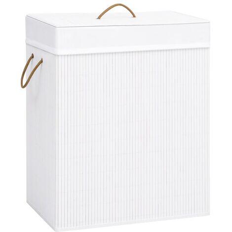 Bamboo Laundry Basket White 83 L