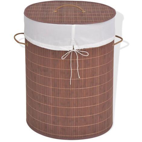 Bamboo Laundry Bin Oval Brown