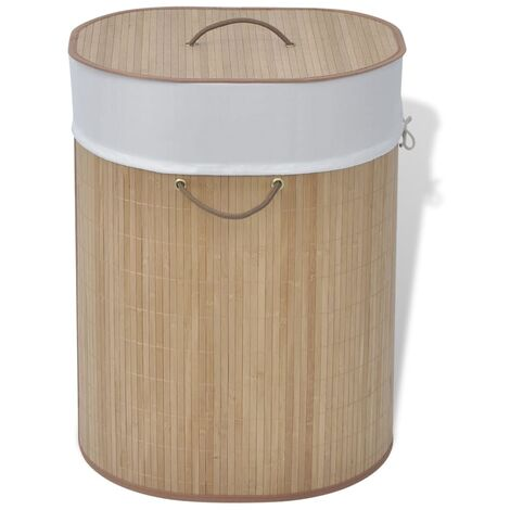 Bamboo Laundry Bin Oval Natural