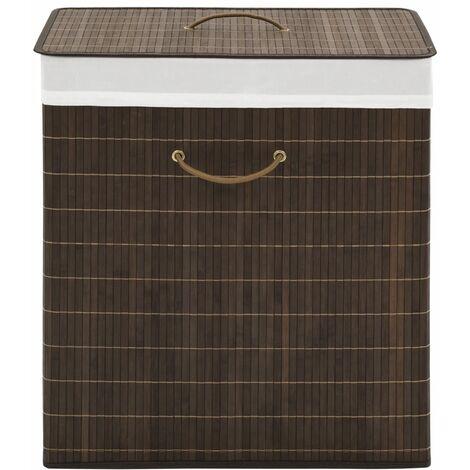 Bamboo Laundry Bin Rectangular Dark Brown