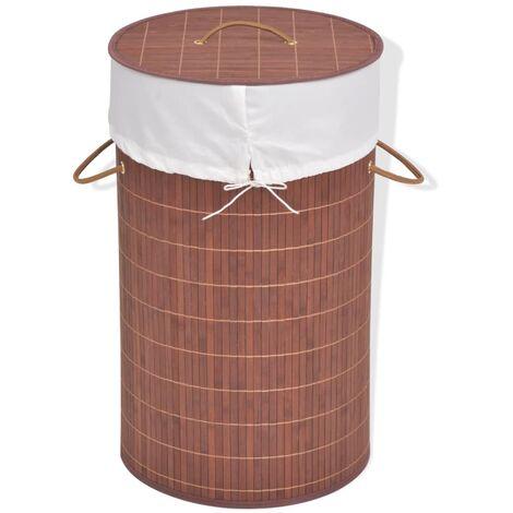 Bamboo Laundry Bin Round Brown