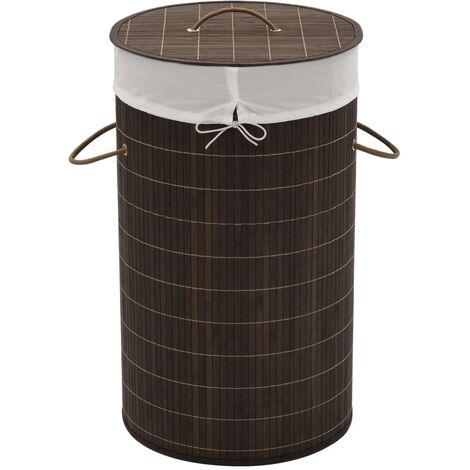 Bamboo Laundry Bin Round Dark Brown