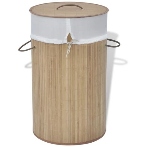 Bamboo Laundry Bin Round Natural