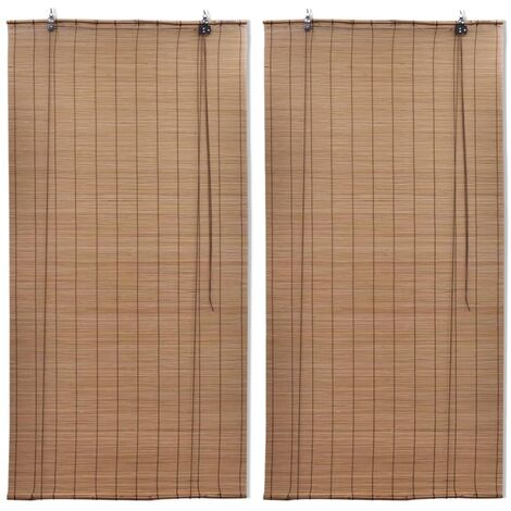 Bamboo Roller Blinds 2 pcs 100x160 cm Brown