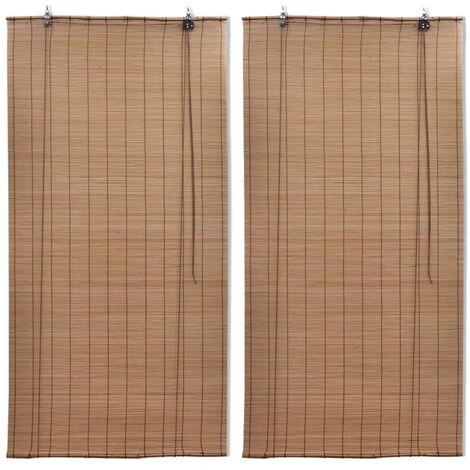 Bamboo Roller Blinds 2 pcs 80x160 cm Brown