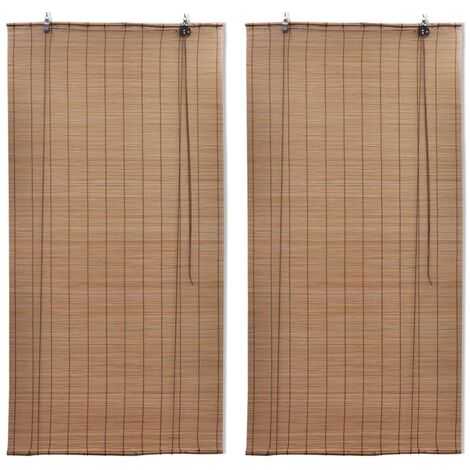 Bamboo Roller Blinds 2 pcs Brown 120x220 cm
