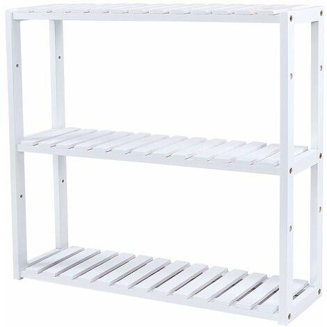 Bamboo Shelf 3 Tiers Bathroom Space-saving Wall Shelf, Kitchen Storage Shelf, 60 x 15 x 54cm Using in Bathroom, Living Room, Kitchen, Garage, White, BCB13W