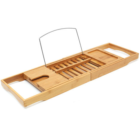Bamboo Shelf Bath Caddy Luxury Top Slim Wood Rack Tidy Storage Deck de baño Hasaki