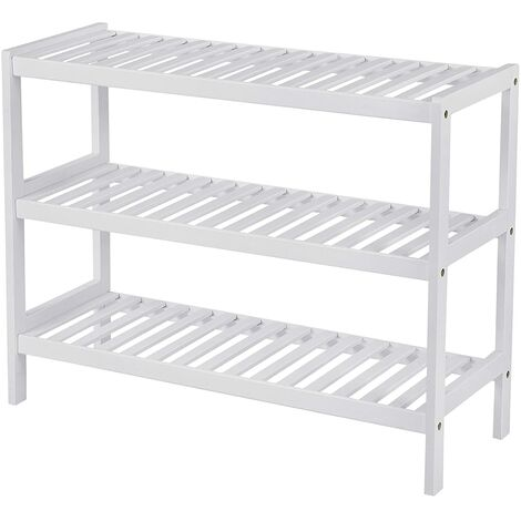 Bamboo Shoe Rack 3 Tier Storage Shelf Hold up to 12 Pairs of Shoes 70 x 25 x 55cm, ideal for Hallway, Bathroom, Living Room and Corridor, White LBS13W - White