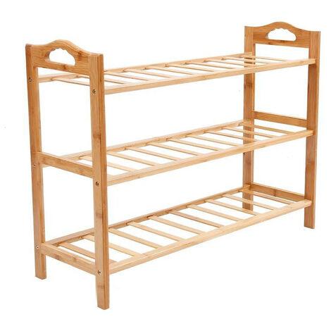 Bamboo Shoe Rack Unit Footwear Organiser Stand Wooden Storage Shelves, 3 Tiers