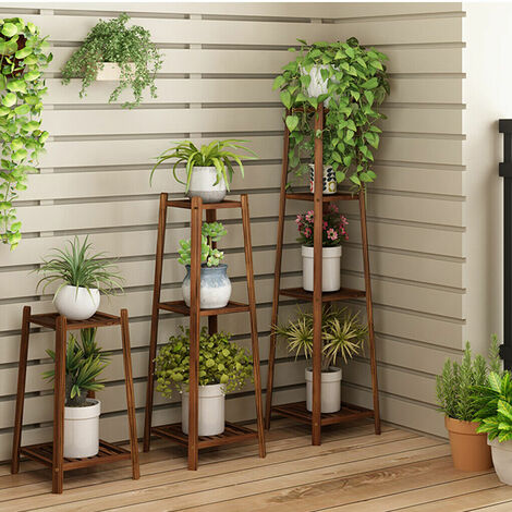 Bamboo Tall Plant Stand Pot Holder Garden Flower Rack Display Vintage - different size available