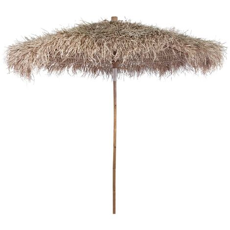 Bamboo Umbrella 270 cm with Banana Leaf Roof - Brown