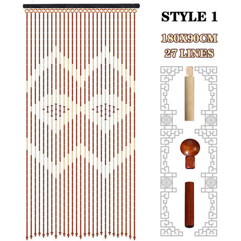 Bamboo Wooden Bead String Door Tassel Curtain Blinds 90x180cm
