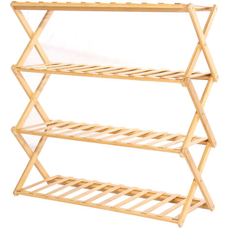 Bamboo Wooden Shelf Plant Stand Folding 4 Tier Ladder Storage Indoor Outdoor Shoes Shelf 70*69*25cm