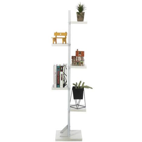 Bambou 6 niveaux support de plante support de pot de fleur multiple étagère de support de pot de fleur intérieur extérieur unité de rayonnage d'affichage pour patio jardin coin balcon salon 143x30cm (blanc, support blanc)