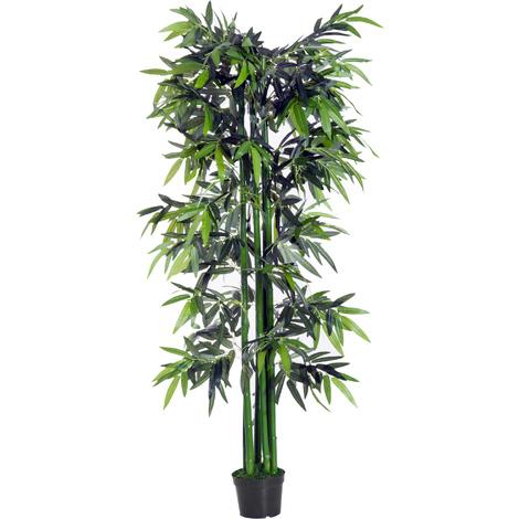 Bambou artificiel XXL 1,80H m 1105 feuilles denses réalistes pot inclus noir vert