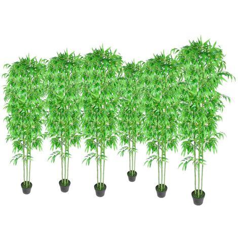 Bambú Plantas Artificiales Hogar Decoración Set de 6 - Verde