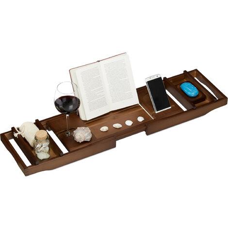 Bambus Badewannenablage, ausziehbar, Weinhalter, Buchstütze, Seifenablage, Badewannenaufsatz, 75-109 cm, braun
