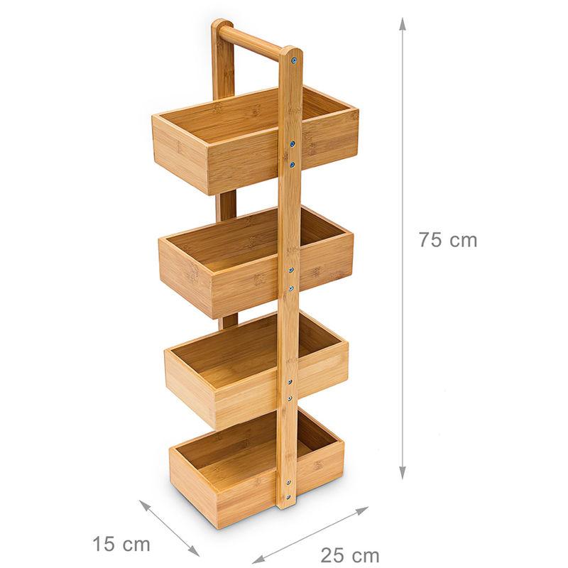 Bambus Badregal H x B x T: 75 x 25 x 18 cm Praktisches Badezimmerregal als  Ablageständer mit 4 Körben als Bambus-Butler Korbregal aus natürlichem Holz  ...