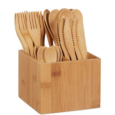Bambus Besteck Set, je 10 x Messer, Gabel, Löffel & Teelöffel, Besteckhalter, wiederverwendbar, 41-tlg., natur