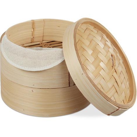 Bambus Dampfgarer, asiatischer Dämpfkorb mit 2 Etagen, für Dim Sum, Reis, Dampfgarer Einsatz, Ø 20,5 cm, natur
