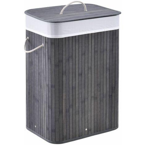 Bambus Wäschekorb Curly mit Deckel – Wäschesammler 72 Liter – Stoff Wäschesack herausnehmbar & waschbar – Wäschetonne mit Griffen – grau | Juskys