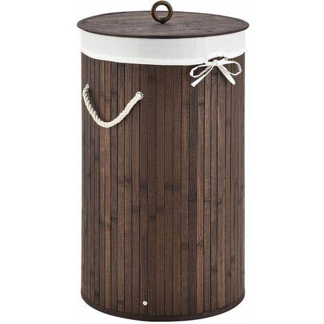 Bambus Wäschekorb Curly-Round – 55 Liter Volumen – Wäschesammler mit Deckel, Tragegriffen & Stoff Wäschesack – 1 Fach Wäschebox – in Braun | Juskys