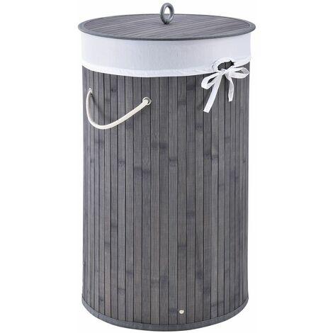 Bambus Wäschekorb Curly-Round – 55 Liter Volumen – Wäschesammler mit Deckel, Tragegriffen & Stoff Wäschesack – 1 Fach Wäschebox – in Grau | Juskys