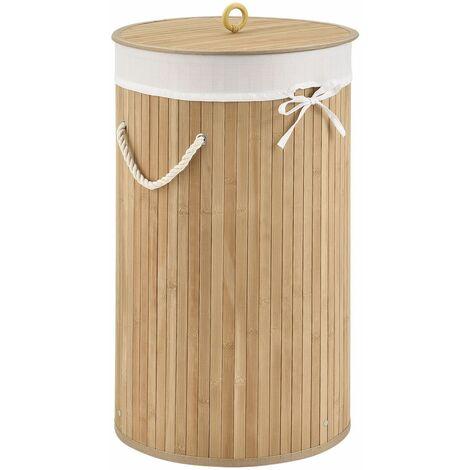 Bambus Wäschekorb Curly-Round – 55 Liter Volumen – Wäschesammler mit Deckel, Tragegriffen & Stoff Wäschesack – 1 Fach Wäschebox – in Natur | Juskys