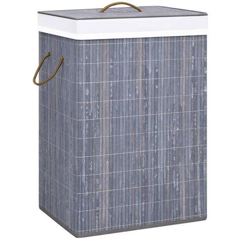 Bambus-Wäschekorb Grau 72 L