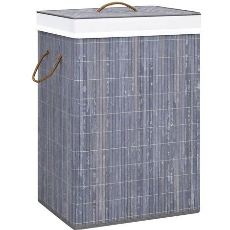Bambus-Wäschekorb Grau