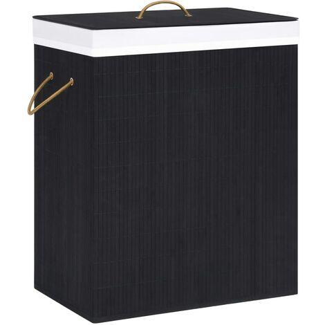 Bambus-Wäschekorb Schwarz 83 L
