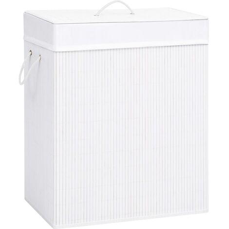 Bambus-Wäschekorb Weiß 100 L