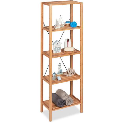 Bambusregal Deluxe, natürliche Optik, Badregal mit 5 Ablagen, Standregal, universal, HBT: 181x55x38 cm, natur