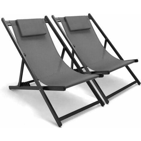 BAMNY 2PC Aluminum Patio Sun Lounger Folding Adjustable Recliner Garden Camping Chair