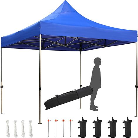 """main image of """"BAMNY 3 x 3m Blue Gazebo,Pop Up Waterproof Folding Gazebo Camping Shelter,Commercial Instant Tent with Specially Higher Top,Reinforced Structure,Wheeled Carry Bag and 4 Sand Bags"""""""