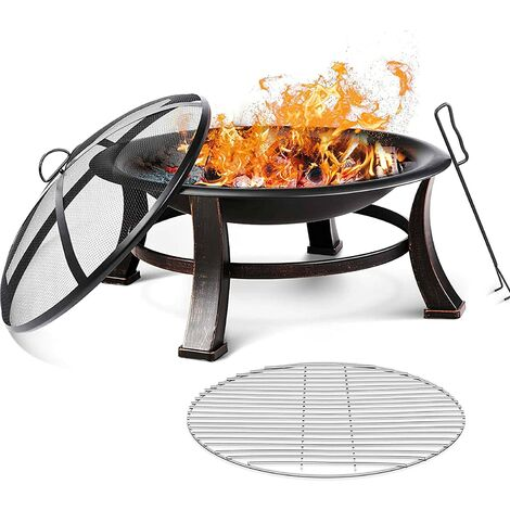 Bamny 30' Fire Bowl Outdoor Patio Fire Pit with Mesh Spark Screen Cover, BBQ Grill, Log Grate, Firepit Poker, Waterproof Cover, Wood Burning Stove for Backyard, Camping, Bonfire, Patio, Garden