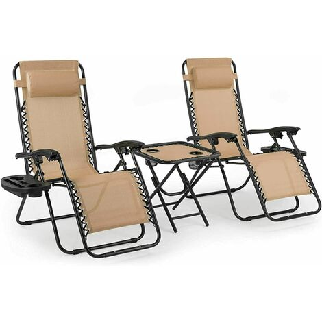 Bamny 3PC Folding Zero Gravity Garden Chairs Sun Lounger Table Set W/ Cup Holder Beige