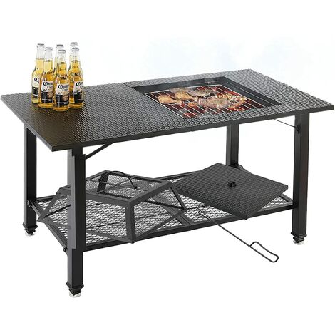 """main image of """"BAMNY 4-in-1 Fire Pit Table, Multifunctional BBQ Table ,Garden Patio Heater/BBQ/Ice Pit/Table with BBQ Grill Shelf,Poker, Mesh Screen Lid for Camping Picnic Campfire Patio Backyard"""""""