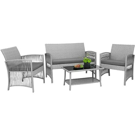 """main image of """"Bamny 4-piece Garden Set Garden Furniture Set Chairs and Table Easy Assembly Lounge Set for Outdoor, Balcony, Garden, Terrace, Rattan look, Gray"""""""